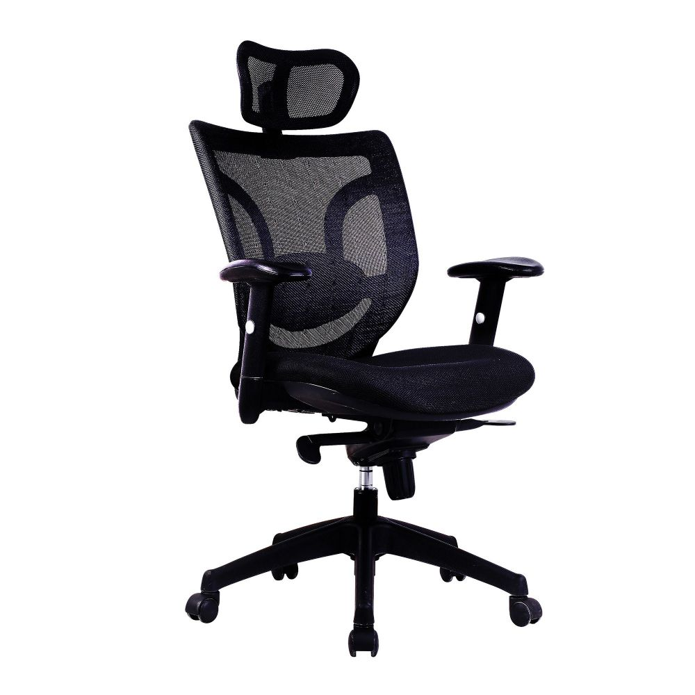 Newton Mesh High Back. Operator Chair, Black, Integral Headrest